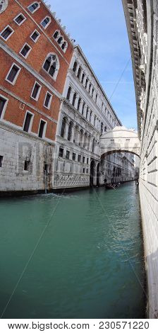 Famous Bridge Of Sighs And Palazzo Ducale In Venice Photographed With Fisheye Lens