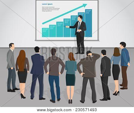 Business Man Conducting A Presentation Seminar Lecture Training