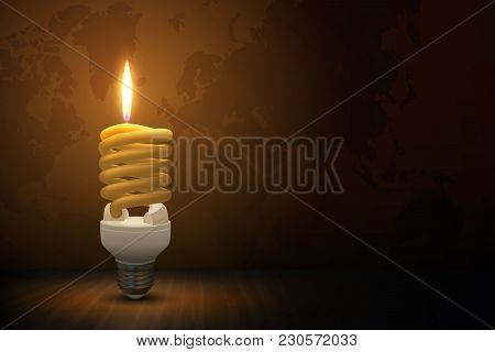Vector Illustration. Fluorescent Lamp In The Form Of A Candle. It Lighting The Dark Room During Eart