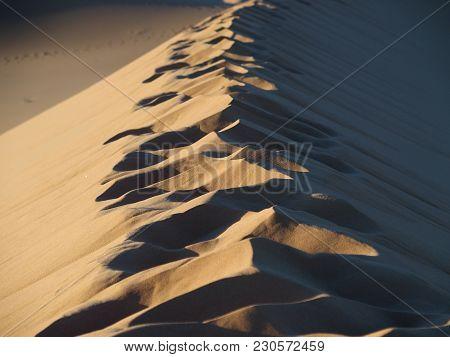 Footsteps On Sahara Desert Sandy Erg Chebbi Dunes Range Landscape At Merzouga Village In Morocco Nea