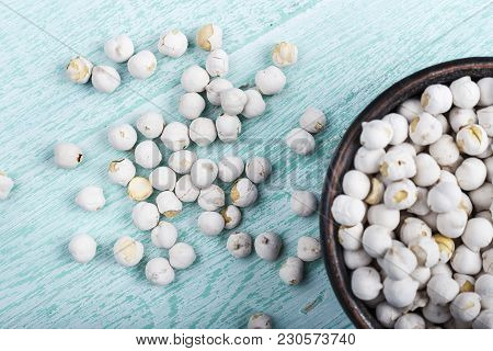 Raw Chickpeas In A Plate