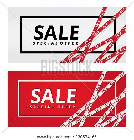 Christmas Sale Red Tape Ribbon Background. Special Offer Tape Poster, Low Price Banner, Discount Fly