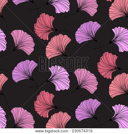 Vector Gingko Leaves. Beautiful Leaves Botany Texture. Modern Plant Background. Abstract Nature Wall