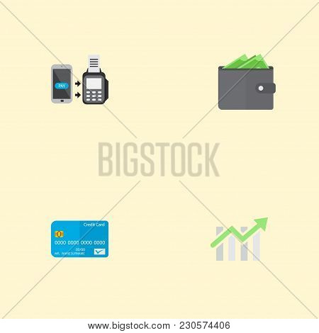 Set Of Finance Icons Flat Style Symbols With Contactless Transaction, Wallet, Credit Card And Other