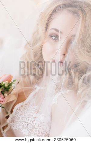 Beautiful Bride Closeup Portrait Under Veil, Wearing Lingerie At Morning Preparation Brfore Wedding