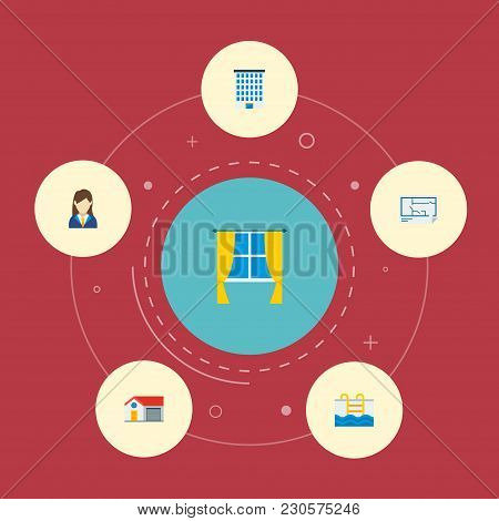 Set Of Realestate Icons Flat Style Symbols With Building, House, Window And Other Icons For Your Web