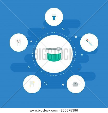 Set Of Tooth Icons Flat Style Symbols With Healthy, Toothbrush, Orthodontist And Other Icons For You