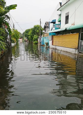 Flooded Village After Heavy Rain In Bangkok, Thailand.