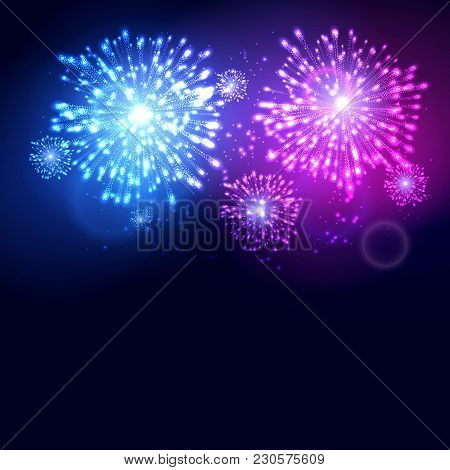 Firework New Year Holiday Celebration Template. Vector Colorful Firework Flame Carnival Event Backgr