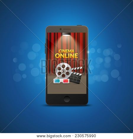 Cinema Movie Mobile Theater Design. Vector Online Film Illustration. Online Booking Ticket App. Smar