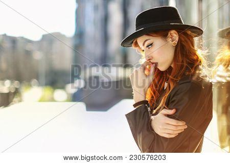 Pretty woman thinking