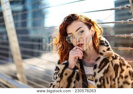 Young woman wearing fashionable clothes