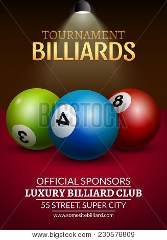 Vector Billiard Challenge Poster. 3d Realistic Balls On Billiard Table With Lamp. Flyer Design Or Po
