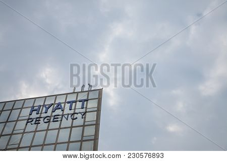 Belgrade, Serbia - March 2, 2018: Hyatt Regency Logo On Their Main Hotel In Serbia. Hyatt Hotels Cor