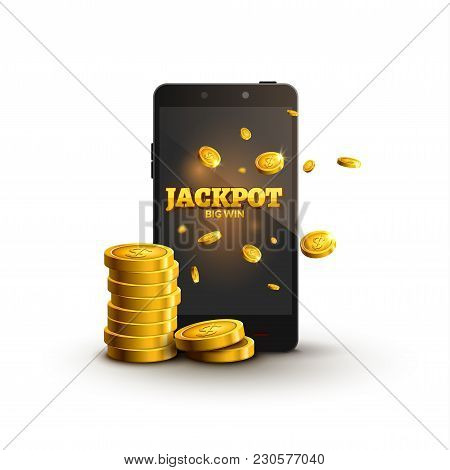 Jackpot Money Smartphone Coins Big Win. Big Income Earn Mobile Money Banner Poster.