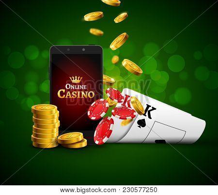Online Mobile Casino App. Poker Gambling App. Casino Vector Game Background.