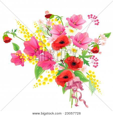 Flower bunch with ribbon