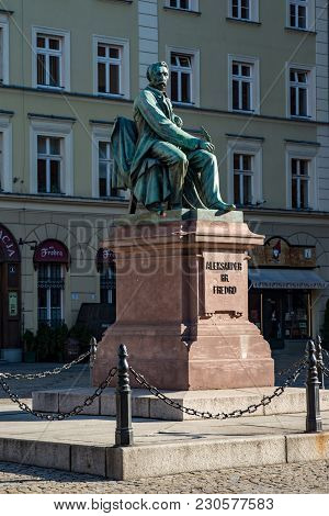 Wroclaw, Poland - March 9, 2018: View Of Neoclassical Bronze Statue Of Famous Polish Writer Alexande