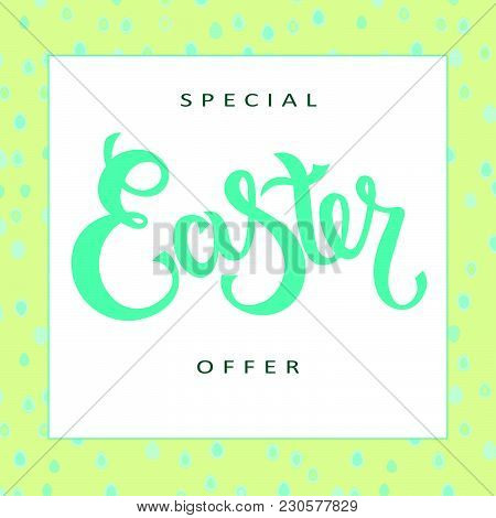Hand Sketched Special Easter Offer Text With Joyful White Bunny As Pascha Logotype, Badge And Icon.