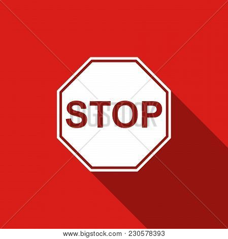 Stop Sign Icon Isolated With Long Shadow. Traffic Regulatory Warning Stop Symbol. Flat Design. Vecto
