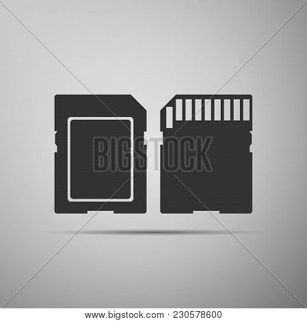 Sd Card Icon Isolated On Grey Background. Memory Card. Adapter Icon. Flat Design. Vector Illustratio