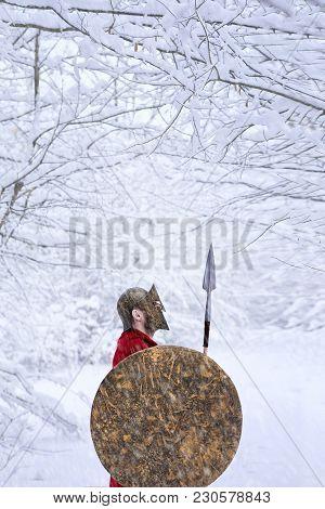 Spartan Warrior Stands In Snowy Forest.