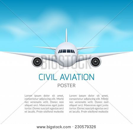 Airplane Background. Commercial Airliner Travel Concept. Plane In Blue Sky, Civil Aviation Airliner