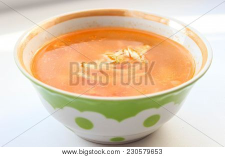 Beautiful Chicken Soup With Slices Of Meat