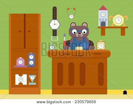 Cartoon Brown Bear Repair The Clock Flat Illustration , Cartoon Bear , Cartoon Animals