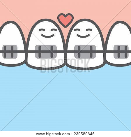 Tooth Character Couple Upper Illustration Vector On Blue Background. Dental Concept.