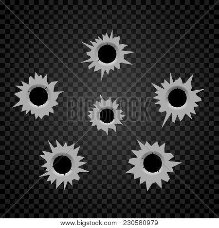 Bullet Holes Cracks Illustration. Criminal Gun Steel Hole. Target Shot Violence And War Concept. Wea