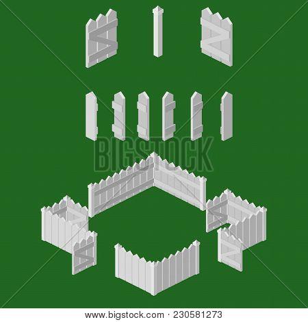 Isometric 2:1 Ratio White Picket Fence Building Kit.