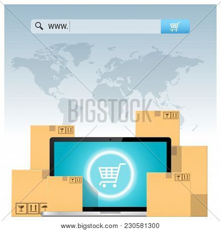 E-commerce Concept With Address Bar Above Cardboard Boxes And Computer Laptop , Vector , Illustratio
