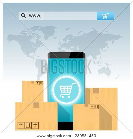 E-commerce Concept With Address Bar Above Cardboard Boxes And Smartphone , Vector , Illustration