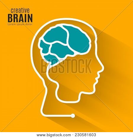Creative Brain. Concept Forming One Line Of The Human Brain Inside Head. Vector.