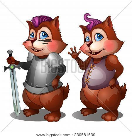 Hamster In Medieval Knight Armor And Casual Clothes. Vector Illustration.