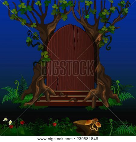 The Wooden Door Between The Trees In A Mysterious Forest. Sketch For Greeting Cards, Posters Or Part
