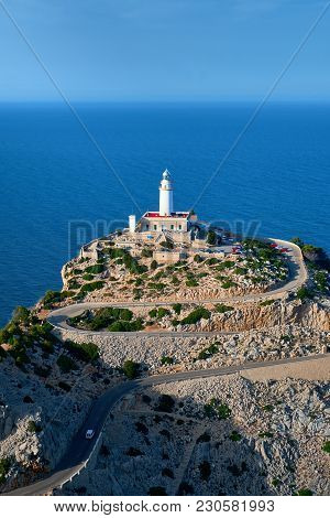 Lighthouse At Cap De Formentor On Majorca While Sunset.