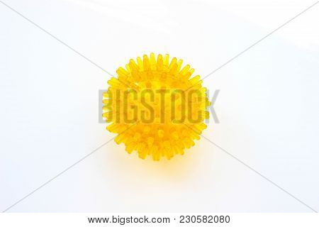 Spiky Rubber Massage Ball On A White Background