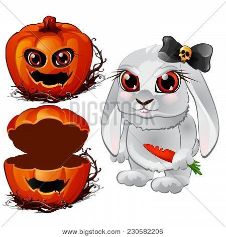 Evil Bunny With A Carrot And A Casket Of Pumpkin Head. Sketch For Greeting Cards, Posters Or Party I