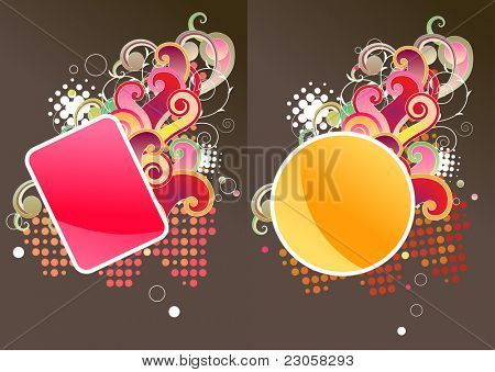 Two different labels with floral element poster