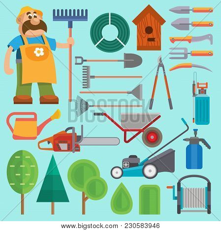 Garden Equipment And Gardener Vector Farmer Flat Set Character With Beard And Rake Illustration. Set