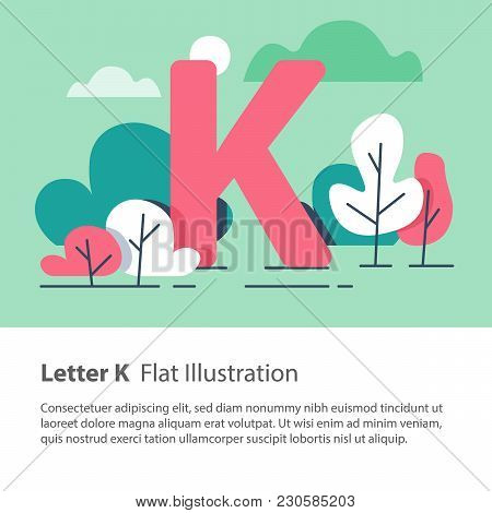 Letter K In Floral Background, Park Trees, Decorative Alphabet Character, Simple Font, Education Con