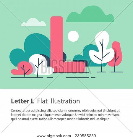 Letter L In Floral Background, Park Trees, Decorative Alphabet Character, Simple Font, Education Con