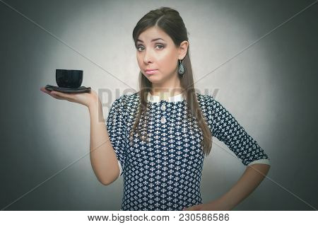 Coffee Break. Coffee Time. Lunch Break. Serious And Confident Woman Holding In Hands A Cup Of Coffee