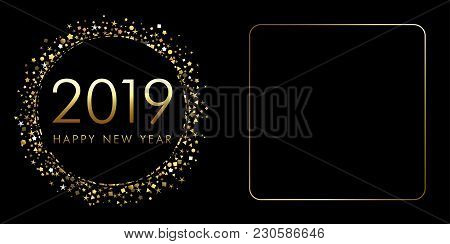 2019 A Happy New Year Xmas Greetings. Dark Background, Classic Isolated Gold Colored Numbers. Season