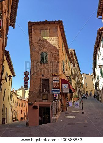 Montepulciano, Italy - July 19, 2017: Cityscape With Medieval Houses Of Montepulciano, Tuscany, Ital