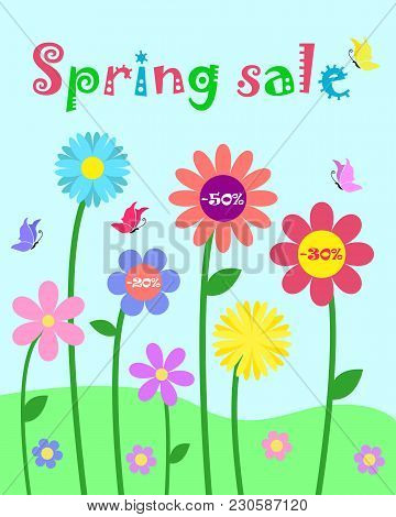Colorful Cute Whimsy Flowers And Butterfly Set, Spring Sale And Percent Discount Promotion Vector Te