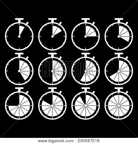 Set Of Stopwatch Time Icons On The Black Background