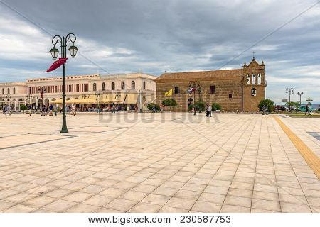 Zakynthos, Greece - September 29, 2017: Main Square And Ancient Church Of St. Nicholas Of The Mole I